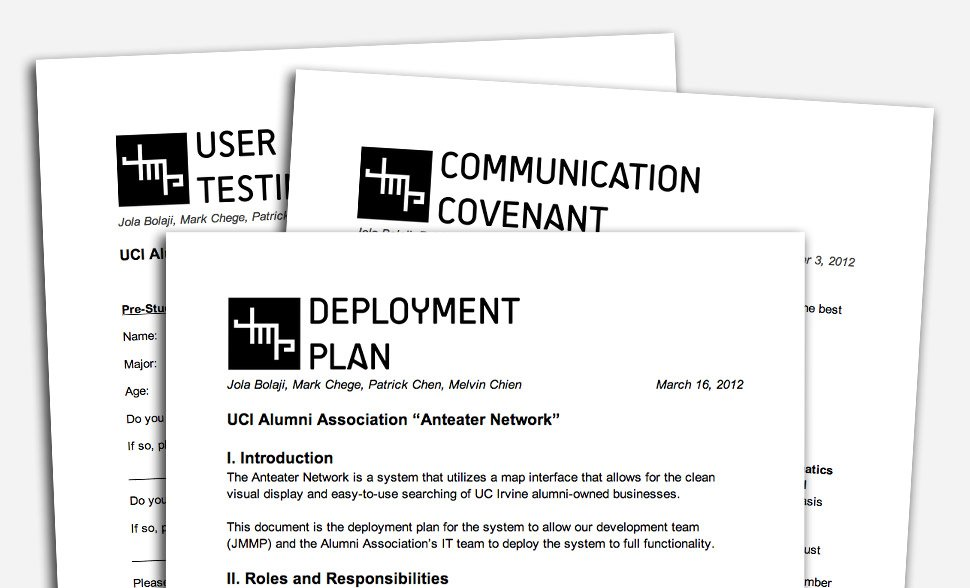 A variety of project documentation was produced including a project plan, communication covenant, risk analysis, and deployment plan.