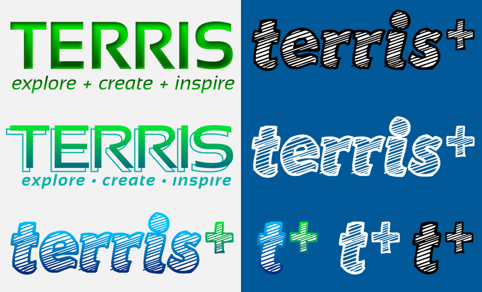 A history of the graphic identities of Terris, including the most recent sketch-style logotype.