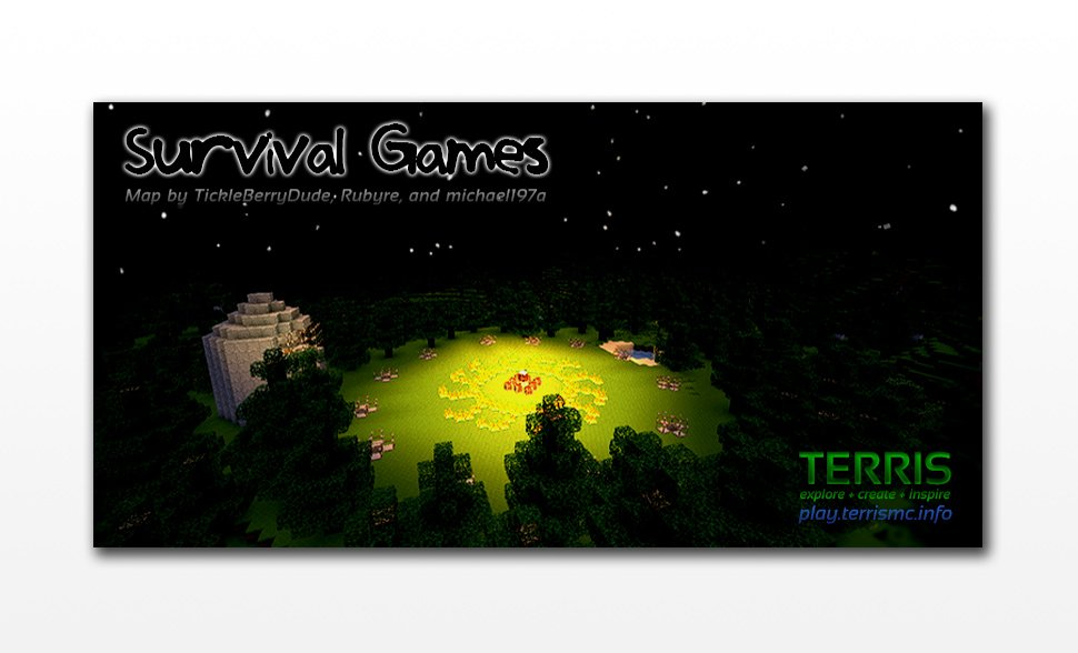Marketing banner for a new custom map and survival game mode, based on the Hunger Games novels.